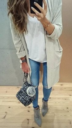 #fall #outfits · Grey Trench // White Top // Suede Ankle Boots // Ripped Jeans