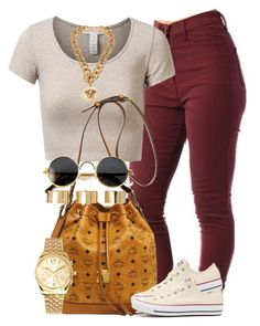 """Wanna be down."" by livelifefreelyy ❤ liked on Polyvore featuring J.TOMSON, MCM, Converse, Michael Kors, Versace and ASOS"