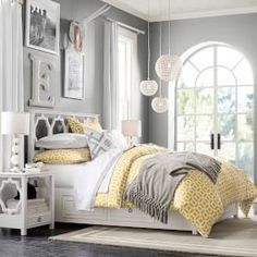 Elegant Light Yellow Bedding And Grey Walls. Decor Ideas Too.