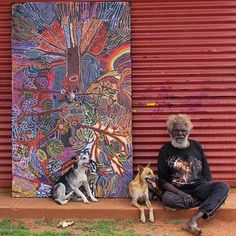 """""""The trees are different for Anangu. They are the ancestors, they are our family. They are our history and our future"""" Hector Tjupuru Burton of Tjala Arts photographed with his 2011 work, """"Punu,"""" at the Amata Community. Aboriginal History, Aboriginal Painting, Aboriginal Culture, Aboriginal Artists, Dot Painting, Indigenous Australian Art, Indigenous Art, We Are The World, Collage"""