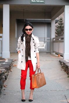 Leopard Scarf & Trench Coat & Red Pants