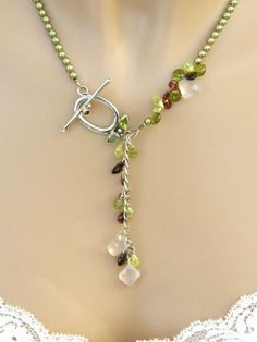 Swarovski Green Glass Pearl Peridot Garnet Handmade Necklace