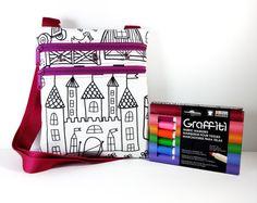 Color Me Bag - Coloring Bag - Little Bag - Small Messenger Bag - Small Bag - Cross body Purse - Cross Body Bag - Mini Crossbody Purse
