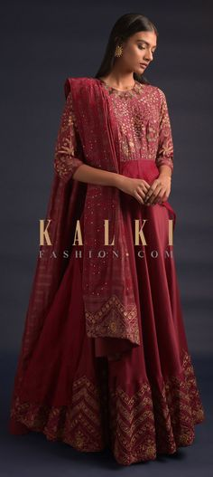Brick Red Anarkali Suit With Floral Embroidery And Attached High Low Layer At The Waist Online - Kalki Fashion Wedding Salwar Kameez, Anarkali Suits, Floral Embroidery, Hemline, Chevron, High Low, Festive, Bodice, Ethnic