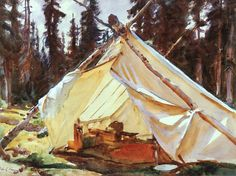 "paintingbox: "" John Singer Sargent. A Tent in the Rockies. 1916. Isabella Stewart Gardner Museum, Boston, MA. Watercolor on paper. 39.2 x 53.2 cm """