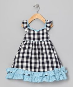 Navy & Blue Gingham Ruffle Dress - Infant, Toddler & Girls