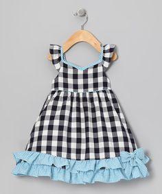 Navy & Blue Gingham Ruffle Dress - Infant, Toddler & Girls
