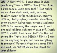 """Yes ... I AM """"just a mom"""" ... and a teacher, waitress, nurse, taxi driver, et cetera ... and a darned good one!!"""