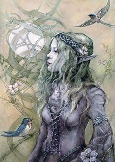 """Dawntreader. """"She greets the pale Solstice dawn, Dew sparkling on her feet, As Swallows sing to the sun."""""""