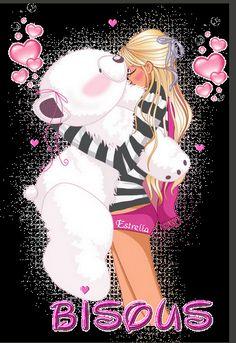 """Jeune demoiselle et son gros ours en peluche blanc """"Bisous"""""""