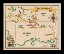 Antiqued Colored Caribbean Pirates Treasure Map of the Carribean Wall Art Print