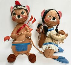 Adorable Vintage Pair of Indian and Squaw with Baby Mice by Annalee Dolls From 1984 by SandysTrinkets on Etsy