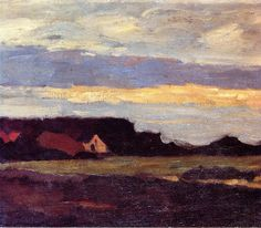 Piet Mondrian (1872-1944) - Landscape in Holland, date unknown, oil on board, 35 x 40 cm, Private collection source : http://www.the-athenaeum.org/art/detail.php?ID=87173