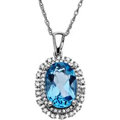 Lord & Taylor Blue Topaz Necklace In 14 Kt. White Gold With Diamond... ($775) ❤ liked on Polyvore