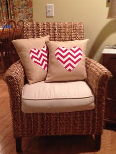Burlap/chevron Valentine pillows!