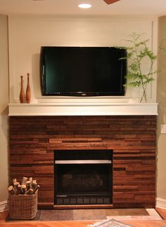 this is just a stunning scrap Wood Fireplace make-over...we could do this at moms!!