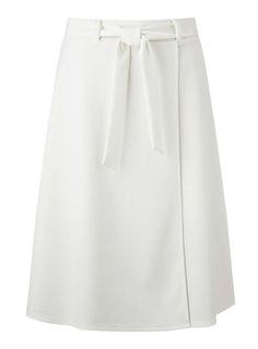 Cream Wrap Belted Skirt - Miss Selfridge