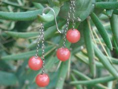 Coral-colored Candy:  Glass Drop Earrings. $20.00, via Etsy.