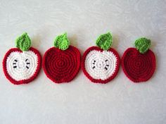 Apple Coasters Set of 4 by KnotsnMore on Etsy