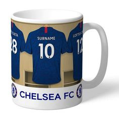 One of our best-selling Chelsea FC gifts of all time, this personalised dressing room mug is the ultimate must-have for any Chelsea FC fan. Official Licensed Product of Chelsea FC Football Club. Our unique design allows your selected name (max 12 . Chelsea Fc Team, Chelsea Fc Players, Chelsea Fans, Chelsea Football, College Football, Steven Gerrard, Ac Milan, Tottenham Hotspur, Liverpool Fc