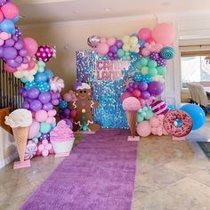 Balloon Arch, Balloons, Birthday Party Decorations, Birthday Parties, Balloon Arrangements, Birthday Woman, Candy Shop, Candyland, How Beautiful