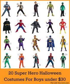 20 Super Hero/Villain Halloween Costumes for Boys under $30