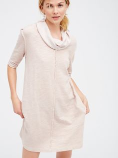 Spring Cocoon Swing Tunic | This effortless tunic has exposed seams for a lived-in look and hidden pocket details for added comfort. Features an oversized, shapeless fit with an ultra soft cotton fabrication. Drapey cowl neckline gives a relaxed feel. Throw on top of a bikini or layer over one of our seamless styles for an effortless look.