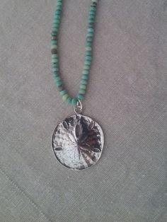 Sea Green Moss Opal with Sterling Silver Sanddollar by smisko