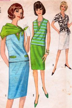 Sale Vintage Sewing Pattern Simplicity 5823 V Neck Pull over with Wiggle Skirt Size 12 Bust 32 inches Simplicity Sewing Patterns, Vintage Sewing Patterns, Sewing Ideas, Sewing Projects, Two Piece Dress, Fashion Images, Vintage Outfits, Vintage Clothing, Pattern Fashion