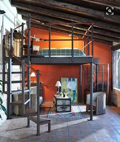 DIY Loftbeds and Loft bed kits are a perfect way to mix modern and new while creating additional space in small places such as San Francisco. Small Loft Spaces, Small Loft Apartments, Small Rooms, Loft Room, Bedroom Loft, Mezzanine Loft, Expand Furniture, Perry Homes, House Design