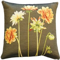 Yellow Dahlias Square Tapestry Throw Pillow from Pillow Décor dahlia pillow Yellow Throw Pillows, Fur Throw Pillows, Outdoor Throw Pillows, Accent Pillows, Yellow Home Accessories, Decoration, Spring, Decorative Pillows, Tapestry