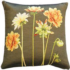Yellow Dahlias Square Tapestry Throw Pillow from Pillow Décor dahlia pillow