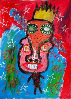"""Control Zeta"" de Victoria Barranco @ VirtualGallery.com - Pintura acrílica en cartón de 50x70 cm (19.7x27.6 in). Arte marginal. Figura de un hombre que se convirtió en niño. (2015)"