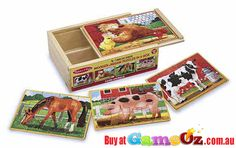 Melissa+and+Doug+4+x+12+pc+Wooden+Jigsaw+Puzzles+In+A+Box+Farm+Animals  Pieces:+4+x+12+pc+puzzles  Encouraging+fine+motor+skills+and+hand-eye+coordination.  Material+:+Wood  Brand:+Melissa+&+Doug  Ages+3+