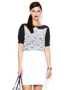 Teresa Contrast Yoke Silk Top by kate spade new york at Gilt
