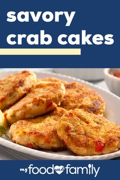 Savory Crab Cakes – Make a restaurant favorite right at home with help from this easy recipe! Bringing a taste of the East-Coast to your dinner table, this dish is sure to be a hit with your guests. Crab Cake Recipes, Fish Recipes, Seafood Recipes, Cooking Recipes, Lobsters, Crabs, Fish Dishes, Seafood Dishes, Delicious Dinner Recipes