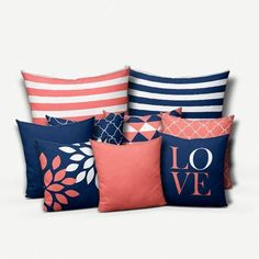 Throw Pillow Covers Navy Coral Pillows Cushion Covers Home Decor Mix and Match Love Floral Solid Navy Coral White Geometric Coral Living Rooms, Living Room White, Blue Rooms, Navy Coral Bedroom, Blue Bedroom, Bedroom Colors, Throw Pillow Covers, Throw Pillows, Cushion Covers