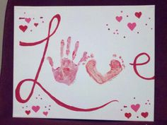 Pinned it, Did it: Love canvas with kid's handprint and footprint