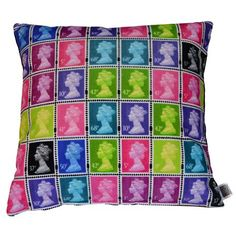 The Colour Union Royal mail Velvet Regular Stamp Cushion.    Achica.com