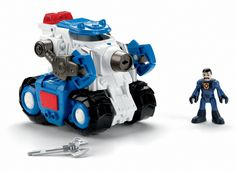 Fisher-Price Imaginext Robot Police Tank. The Robot Police Tank is the perfect vehicle to battle the evil Dr. Glitch. Open the cage and fit a Robot Police figure inside. Press a button to hear police siren sound effects. Press another button to launch the projectile or to activate the claw. Arms and claws on vehicle are posable.