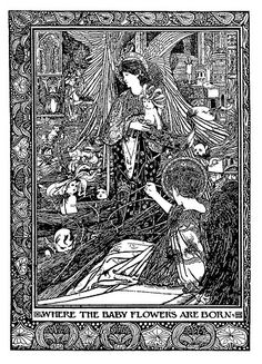 """""""Where the baby flowers are born""""  Charles Robinson  Illustration for King Longbeard published by John Lane  Source: Modern Book Illustrators and Their Work (1914), p. 139."""