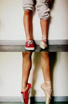 Split Personality #converse #pointe #shoes #dancer