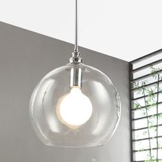 Uptown Clear Globe 1-light Chrome Pendant | Overstock.com Shopping - The Best Deals on Chandeliers & Pendants