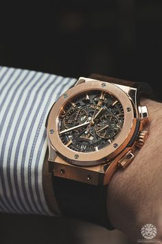Hublot Classic Fusion Chronograph Skeleton in rose gold.More of our footage at WatchAnish.com.