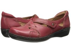 Clarks Evianna Peal Red Leather - Zappos.com Free Shipping BOTH Ways.  Velcro closure. $70 at Zappo's.  Available at CPS.  Comes in navy and black.