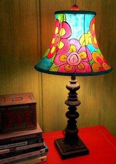 Bright Colored Flowers And Turquoise Hand By Colorfulpottery Painted Lampshade Decorate Lampshades