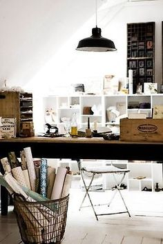Vintage boxes, baskets and filing bins are great storage ideas for your desk area.