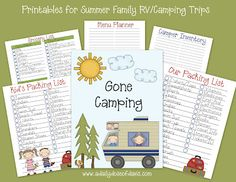 Printables for Summer Family RV/Camping Trips. The packing lists would work for any family summer vacation :-)