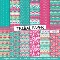 "Tribal digital paper: ""TRIBAL PAPER"" with tribal patterns and tribal background, arrows, feathers, chevrons in pink, blue gold by ClaireTALE on Etsy"