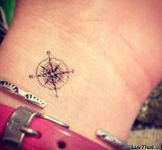 compas rose mini wrist tattoo